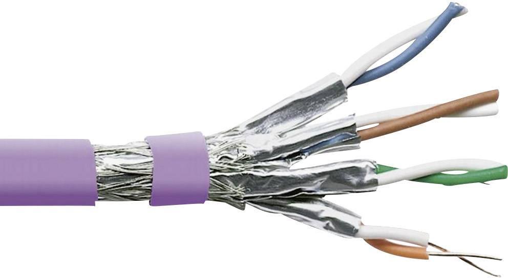 Datový kabel cat.7 S/FTP 4 x 2 x AWG 23/1, stíněný, 1 m, fialová