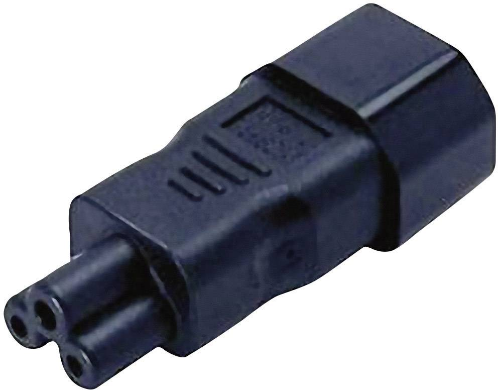 IEC zástrčka C14 / zásuvka C5, 3pól., adaptér rovný, černá