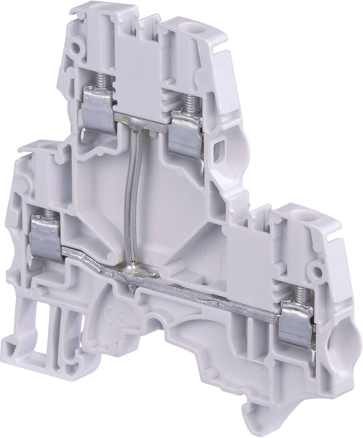 Dvojitá průchodková svorka ABB 1SNK 506 211 R0000, 6 mm, šroubovací, osazení L, šedá, 1 ks
