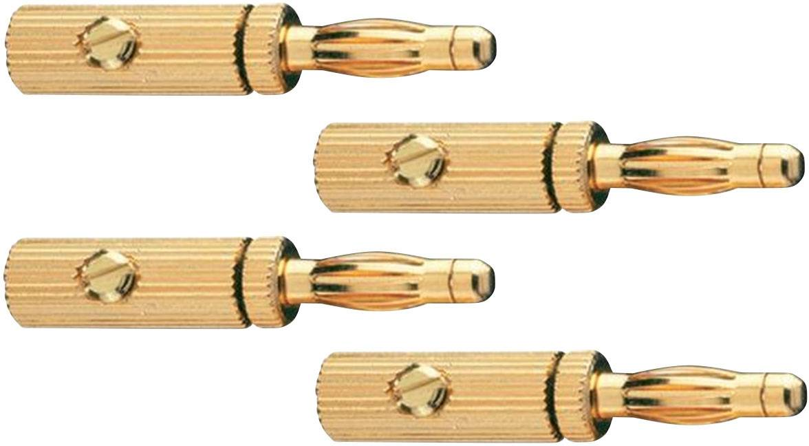 Konektor reproduktoru 3pól. Oehlbach 3009, zástrčka rovná, 4 ks, zlatá