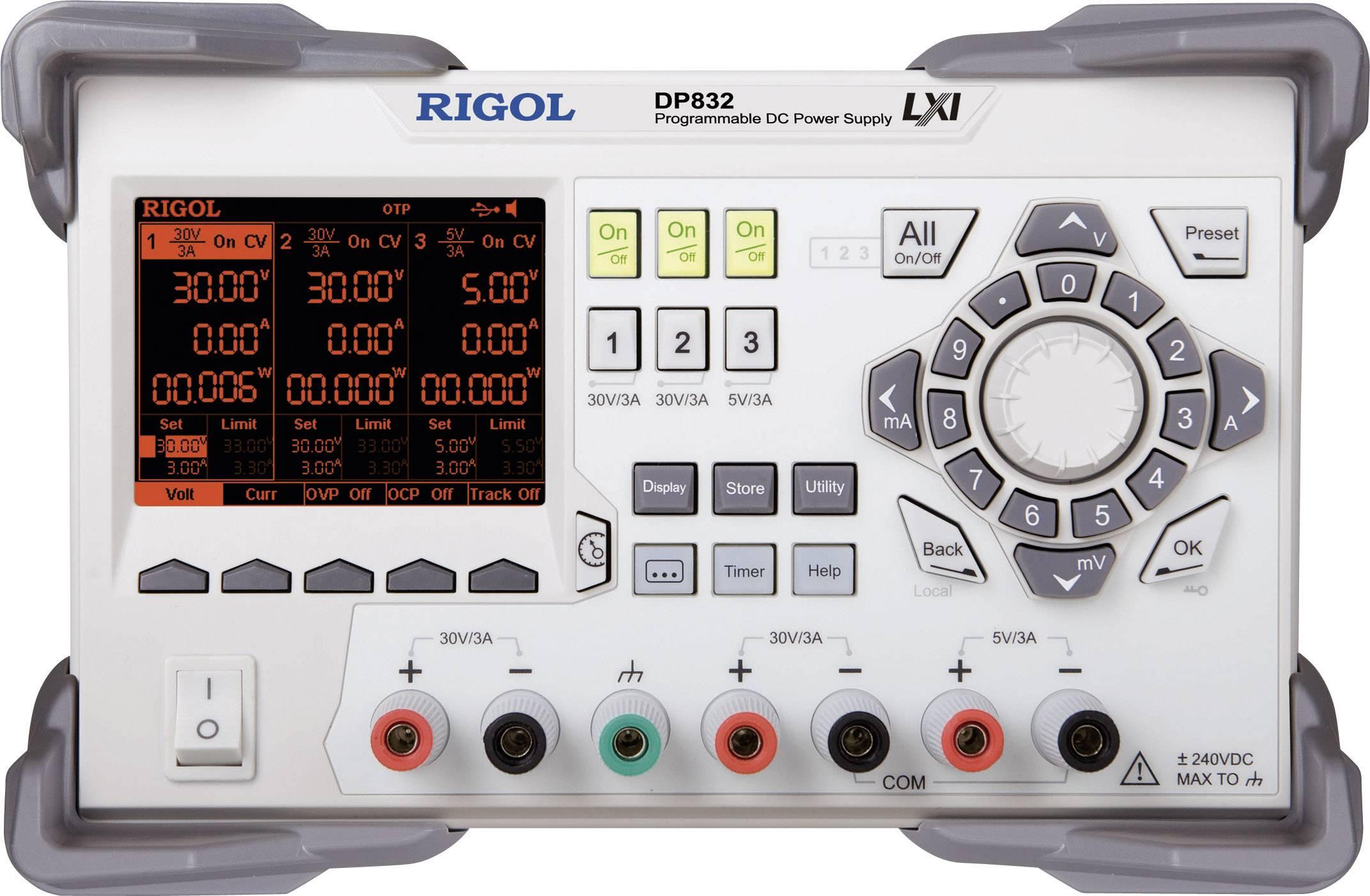 Programovatelný laboratorní síťový zdroj Rigol DP832, 0 - 30 V, 0 - 3 A, 3x výstup