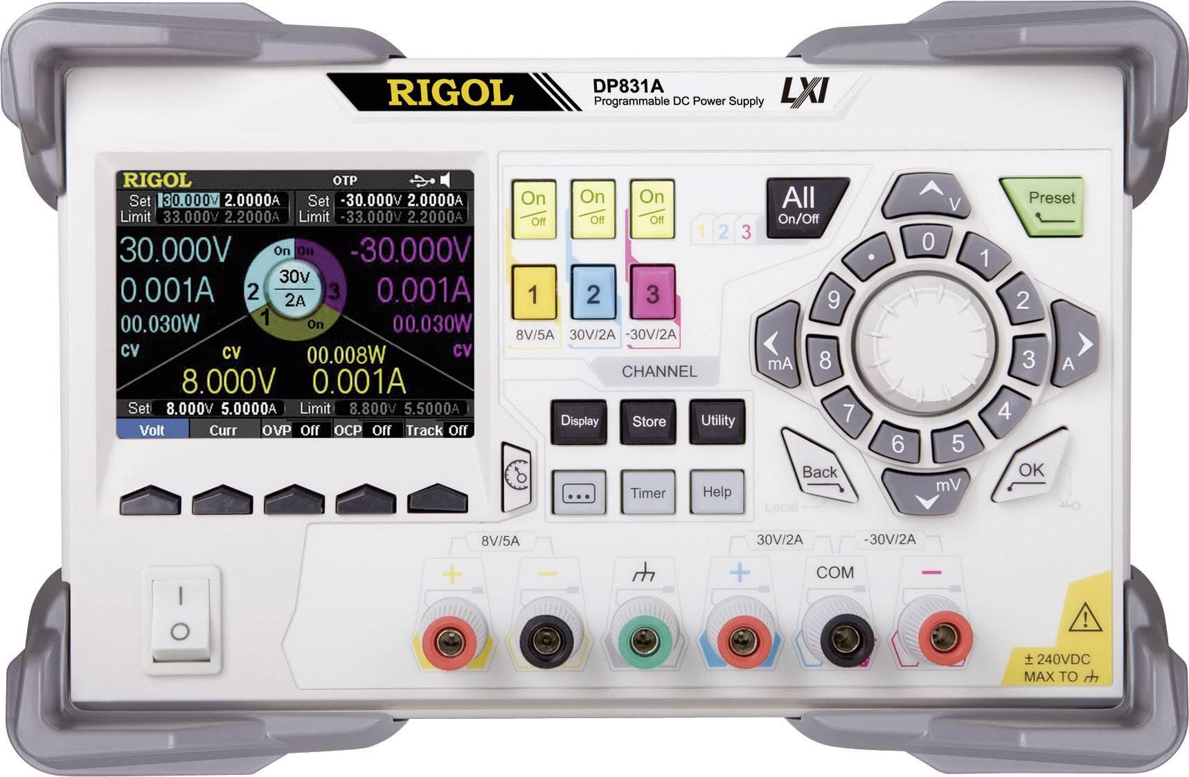 Programovatelný laboratorní síťový zdroj Rigol DP831A, 0 - 8 V, 0 - 5 A, 195 W, 3x výstup