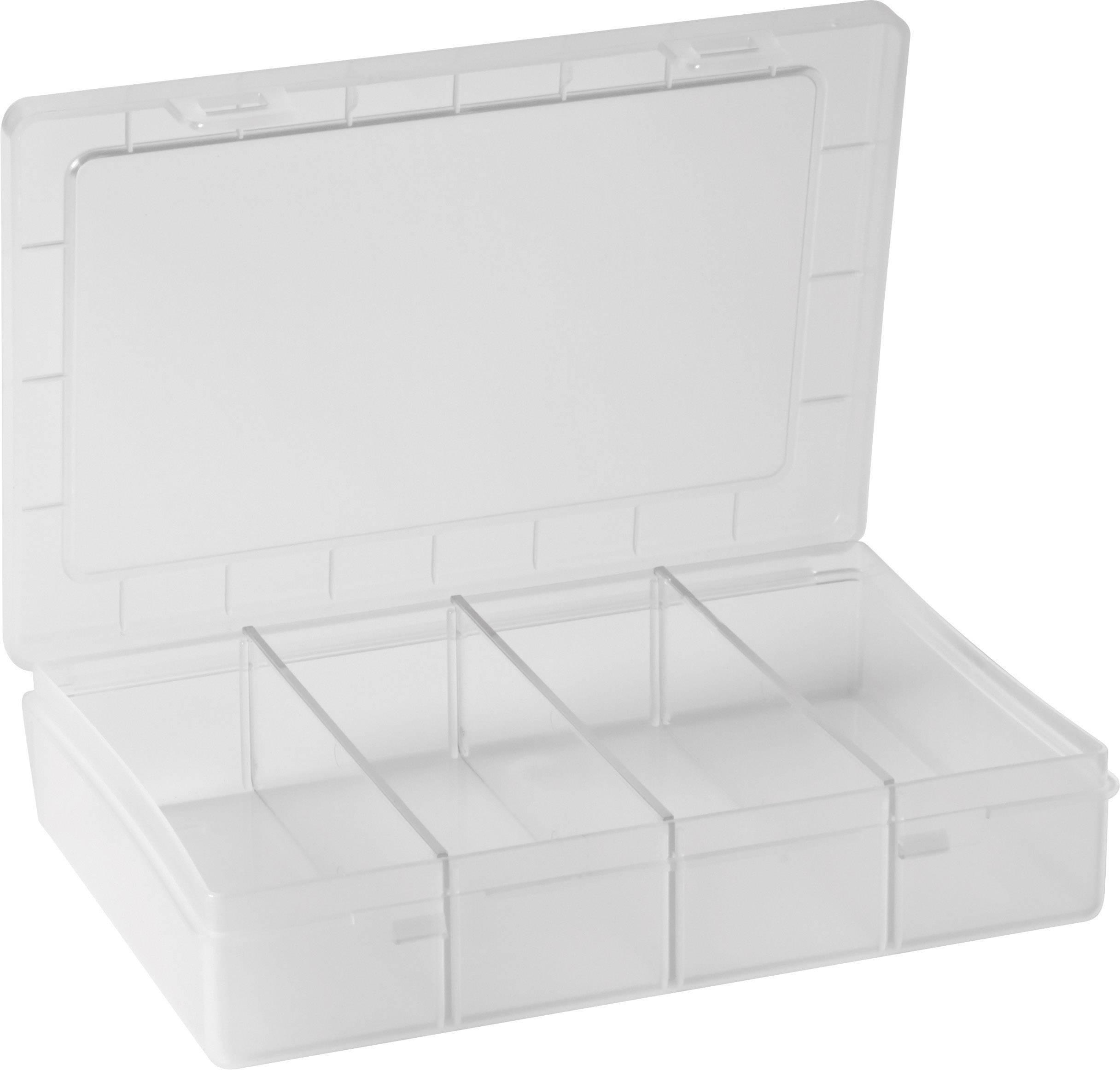 Krabička na drobné súčiastky Alutec 606020, priečinkov: 1, 180 x 140 x 40 , priehľadná