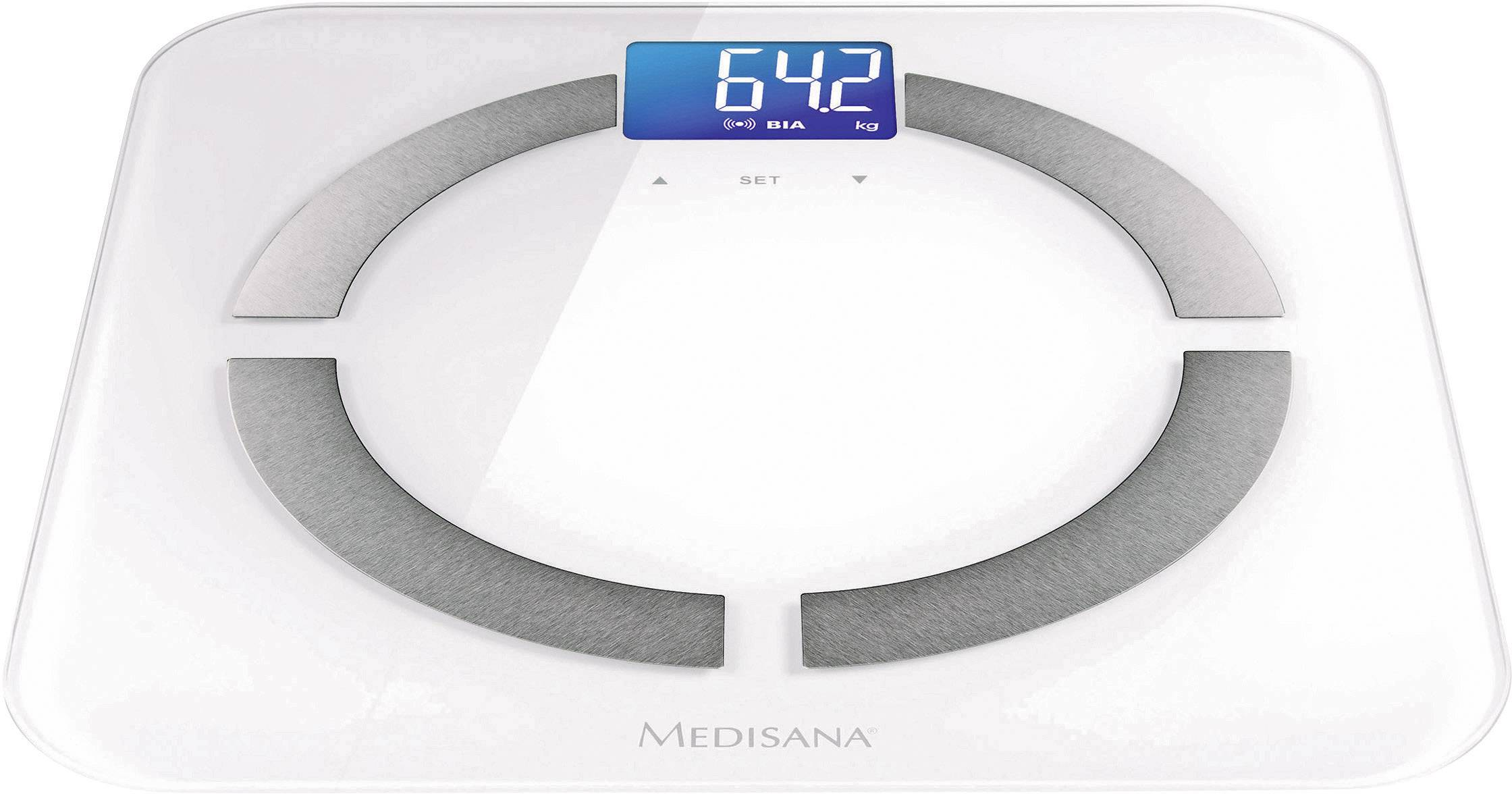 Osobná váha s analýzou telesného tuku a Bluetooth k smartfónu/tabletu, Medisana BS430