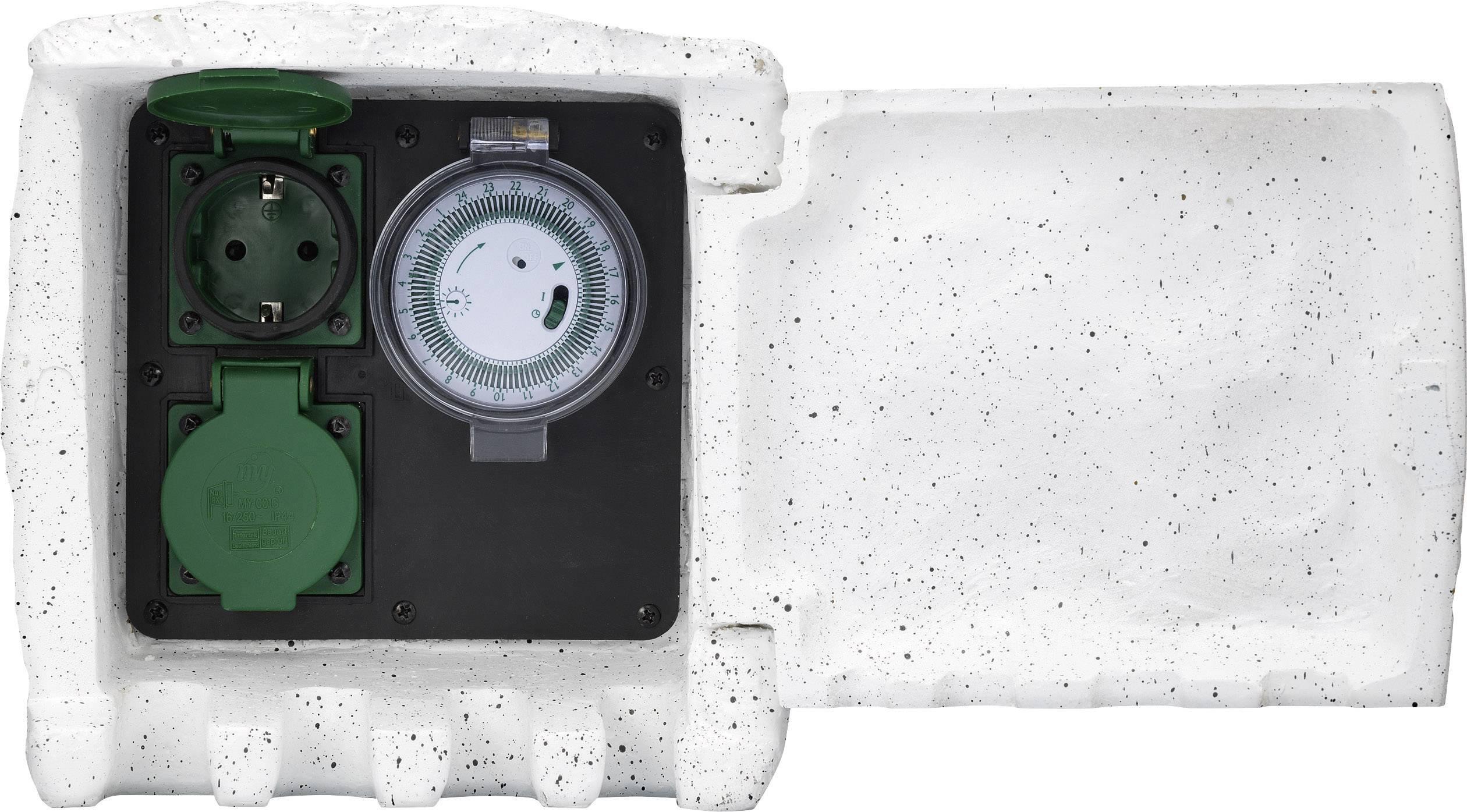 Záhradná zásuvka s časovačom Renkforce, 2 zásuvky, sivá