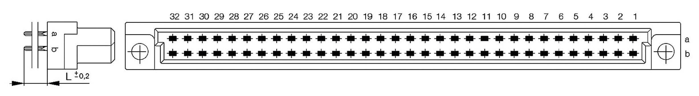 Kolíková lišta ERNI 284166, počet kontaktů 64, řádků 2, 1 ks