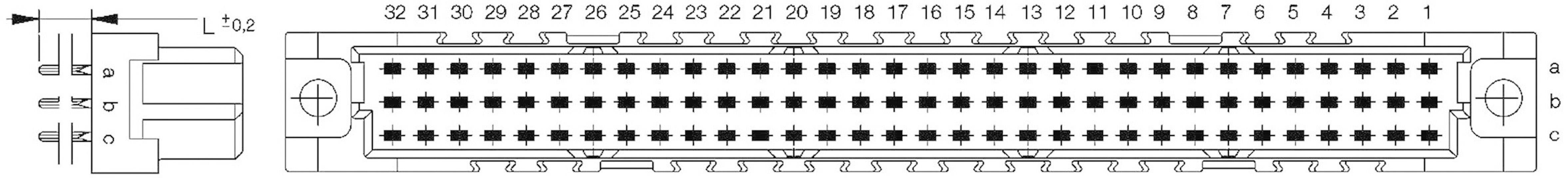 Kolíková lišta ERNI 214836, počet kontaktů 96, řádků 3, 1 ks