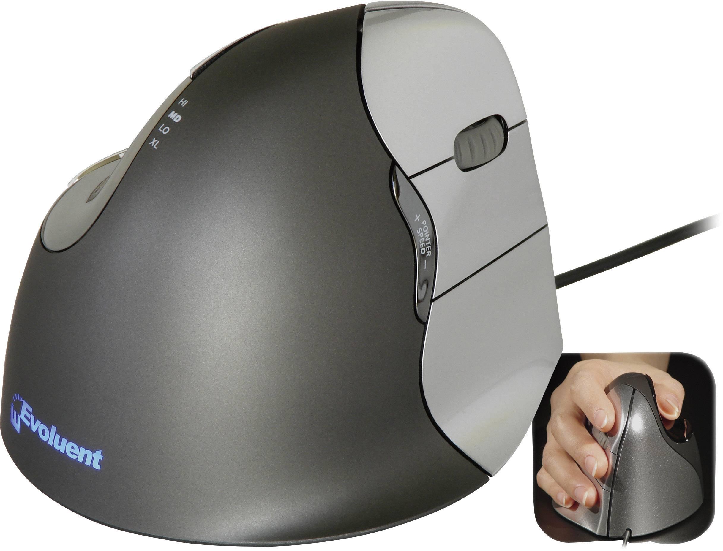 Optická USB myš Evoluent Vertical Mouse 4 VM4R VM4R, ergonomická, čierna, strieborná
