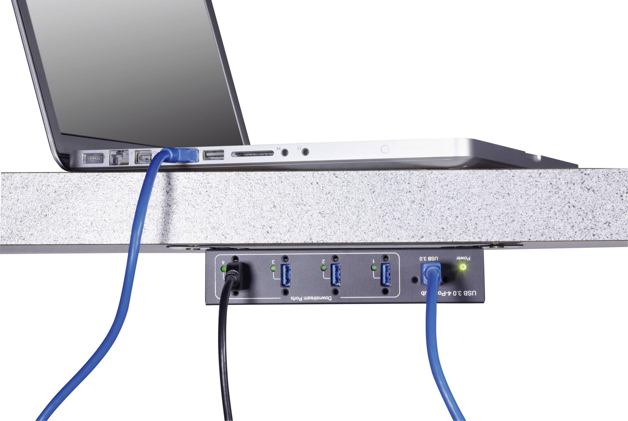 USB hub na priemyselné využitie Renkforce, 4x USB 3.0, čierna