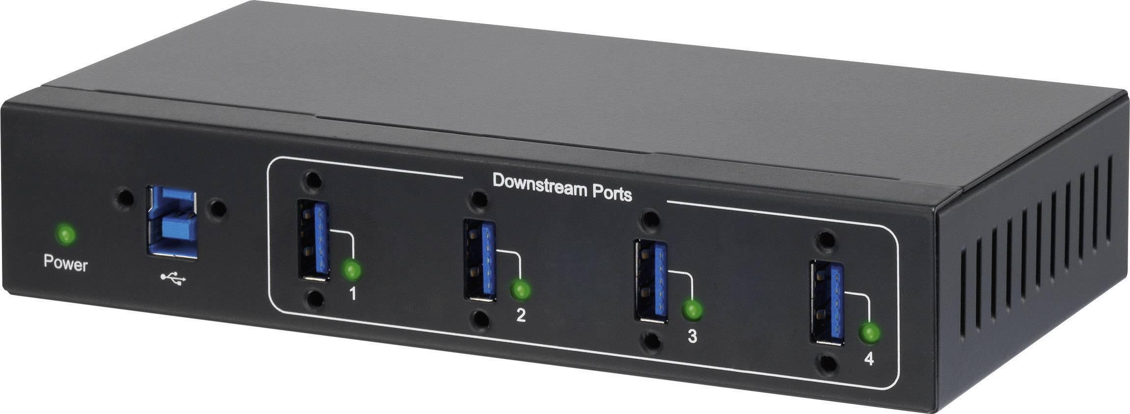 USB hub k průmyslovému využití Renkforce, 4x USB 3.0, černá