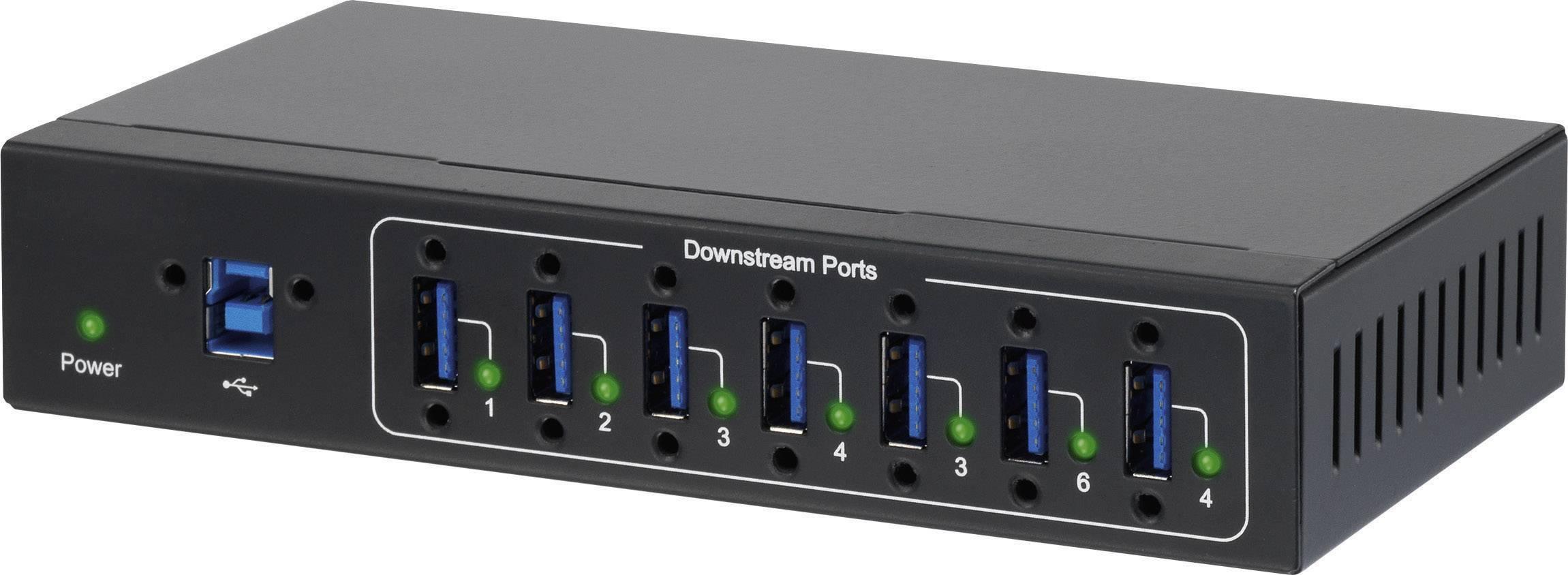 USB hub k průmyslovému využití Renkforce, 7x USB 3.0, černá