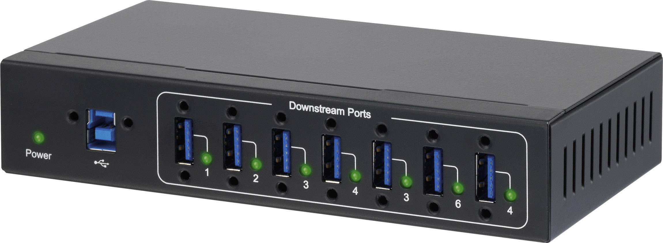 USB hub na priemyselné využitie Renkforce, 7x USB 3.0, čierna