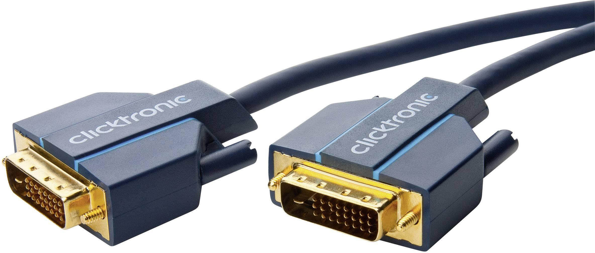 DVI kabel clicktronic [1x DVI zástrčka 24+1pólová - 1x DVI zástrčka 24+1pólová] modrá 1 m