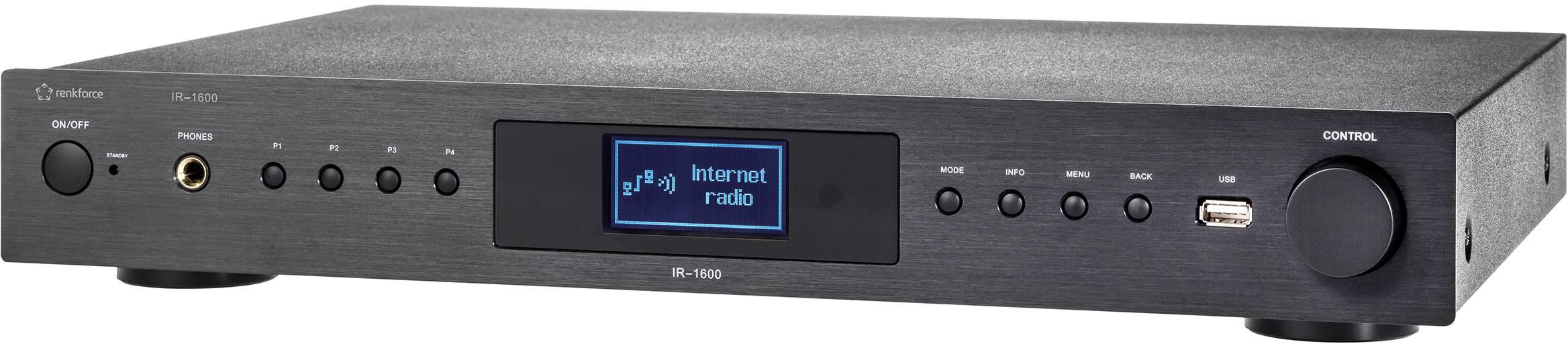 Internetové rádio Renkforce IR-1600, USB, Wi-Fi, čierna
