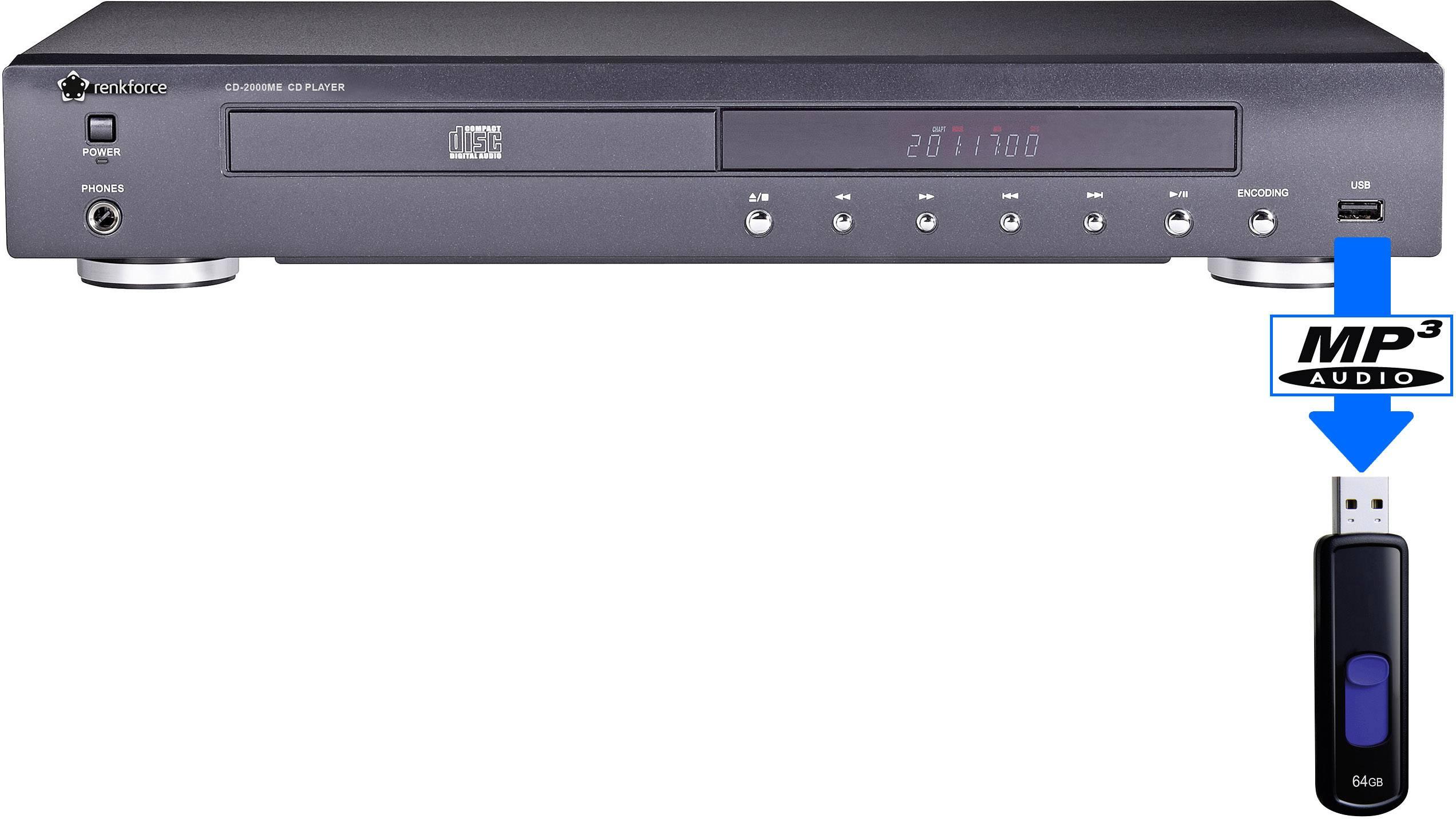 CD prehrávač Renkforce CD-2000ME, čierna