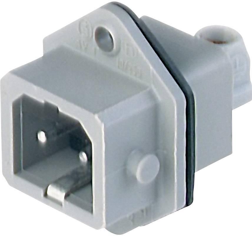 Sieťový konektor Hirschmann STASEI 2, zástrčka, vstaviteľná vertikálna, počet kontaktov: 2 + PE, 16 A, 250 V, sivá, 1 ks