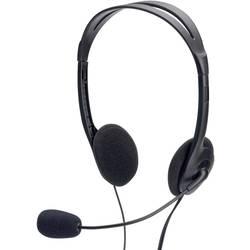 Headset k PC jack 3,5 mm na kabel, stereo ednet 83022 na uši černá