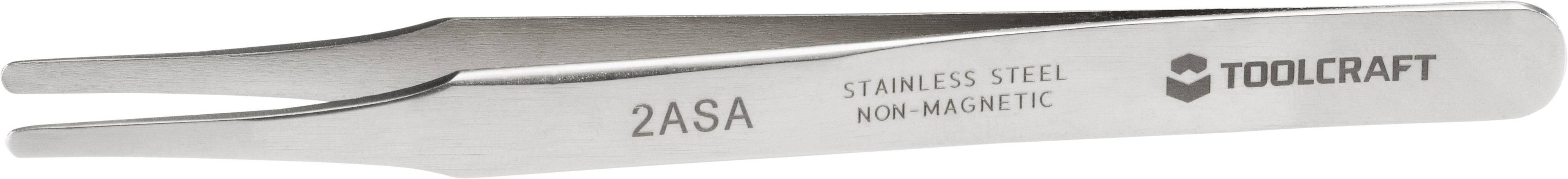 Nerezová pinzeta Toolcraft 2ASA, plochá kulatá a rovná, 120 mm