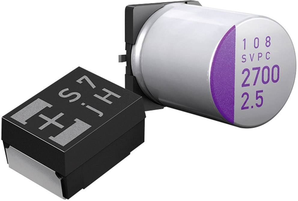 SMT kondenzátor elektrolytický Panasonic polymer 20SVP10M, 10 µF, 20 V, 20 %, 6 x 5 mm