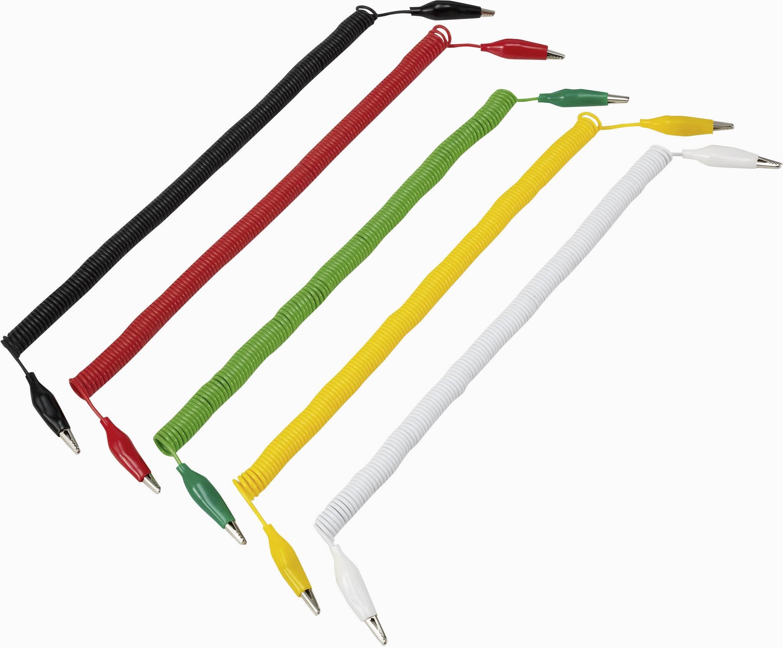 Sada špirálových meracích káblov krokosvorka ⇔ krokosvorka VOLTCRAFT 280MM/0,1/SP, 3.2 m, čierna, červená, žltá, zelená, biela