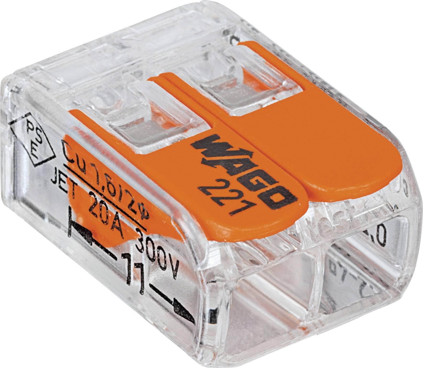 Kabelová svorka WAGO 221-412 pro kabel o rozměru 0.14-4 mm², pólů 2, 100 ks, transparentní, oranžová