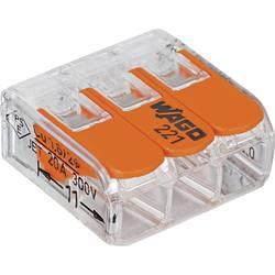 Kabelová svorka WAGO 221-413 pro kabel o rozměru 0.14-4 mm², pólů 3, 1 ks, transparentní, oranžová