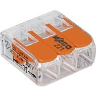 Kabelová svorka WAGO 221-413 pro kabel o rozměru 0.14-4 mm², pólů 3, 50 ks, transparentní, oranžová