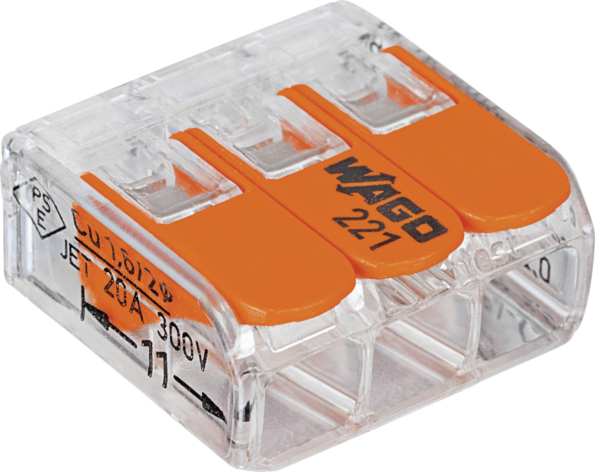 Krabicová svorkovnica WAGO 221-413 na kábel s rozmerom 0.14-4 mm², pólov 3, 50 ks, priehľadná, oranžová