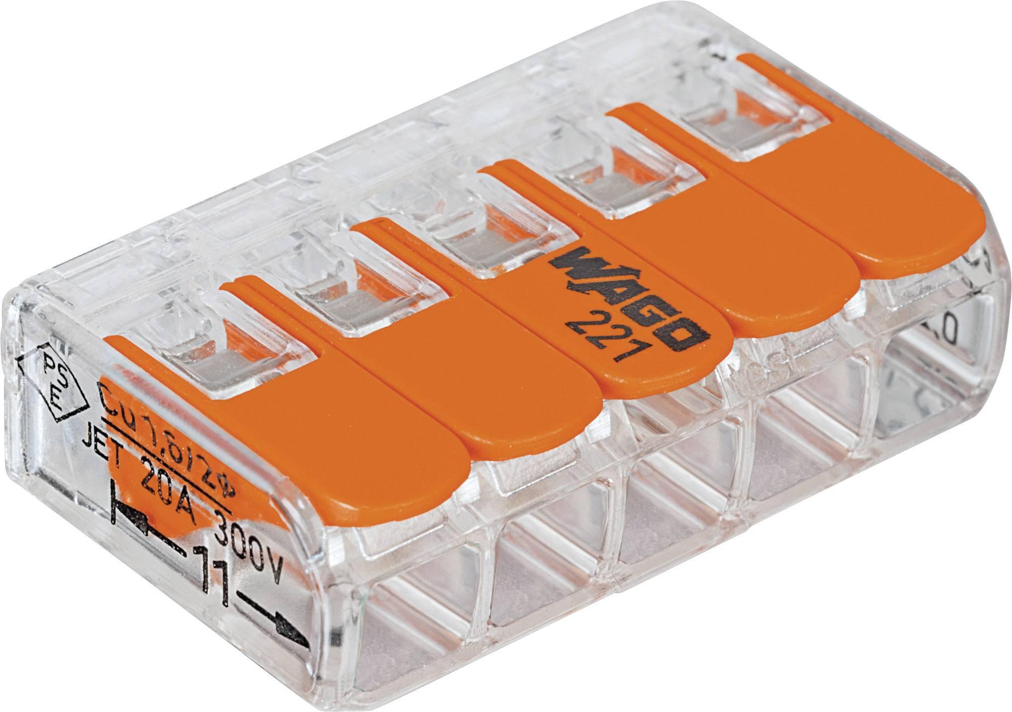 Kabelová svorka WAGO 221-415 pro kabel o rozměru 0.14-4 mm², pólů 5, 25 ks, transparentní, oranžová