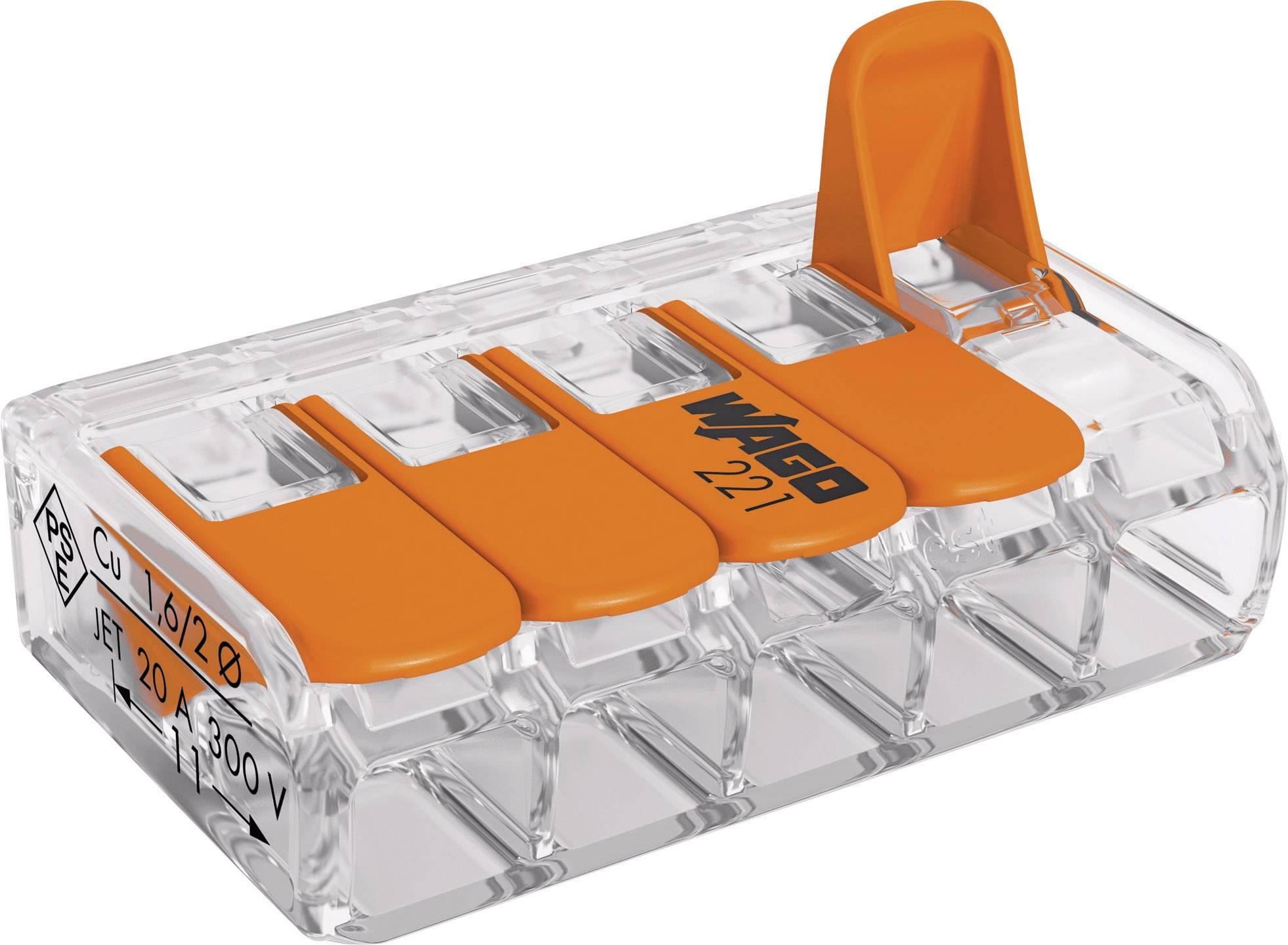 Krabicová svorkovnica WAGO 221-415 na kábel s rozmerom 0.14-4 mm², pólov 5, 1 ks, priehľadná, oranžová