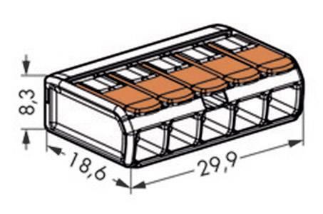 Kabelová svorka WAGO 221-415 pro kabel o rozměru 0.14-4 mm², pólů 5, 1 ks, transparentní, oranžová