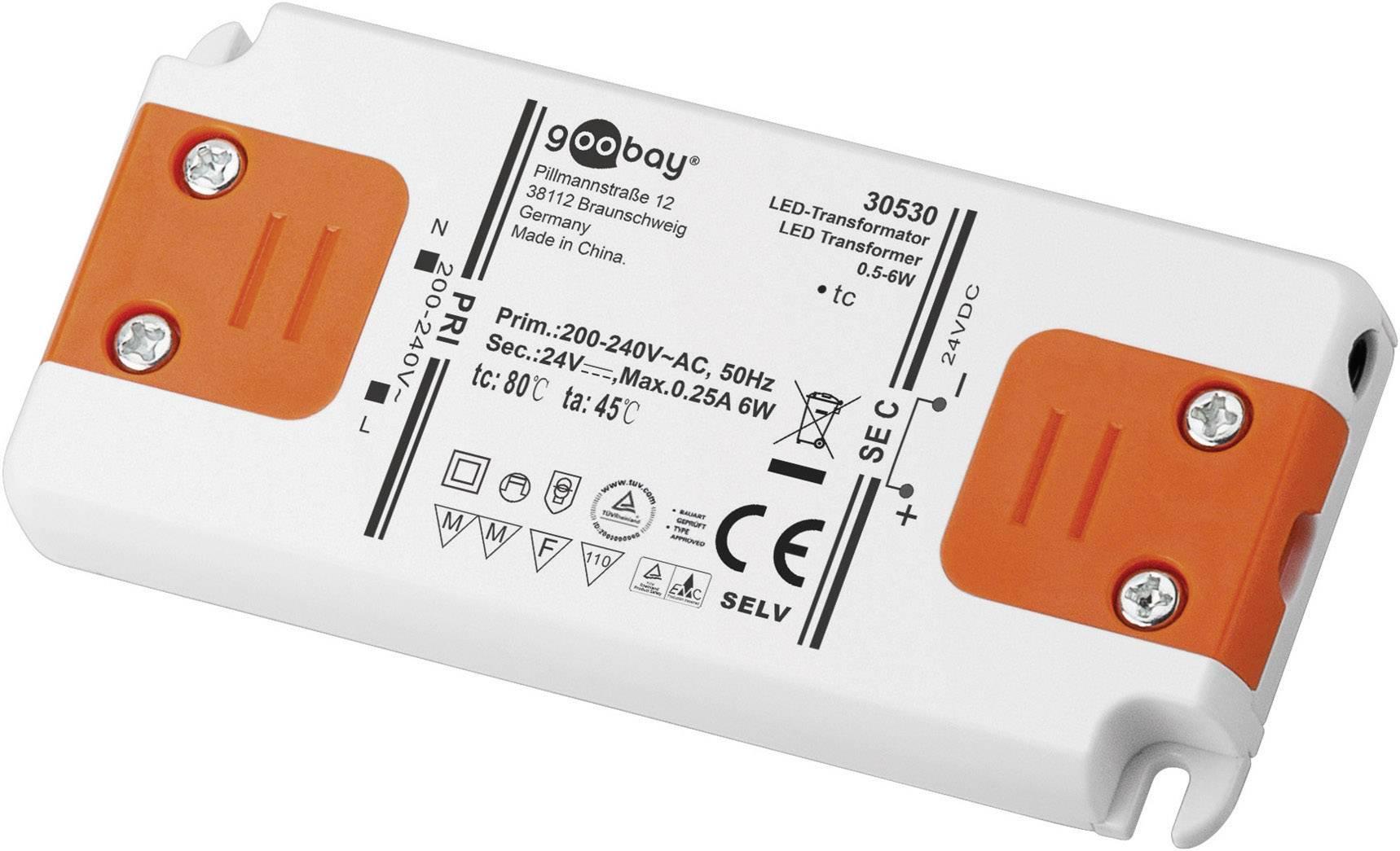 Napájací zdroj pre LED Goobay SET 24-06 LED slim, 0 do 6 W, 0.25 A, 24 V/DC