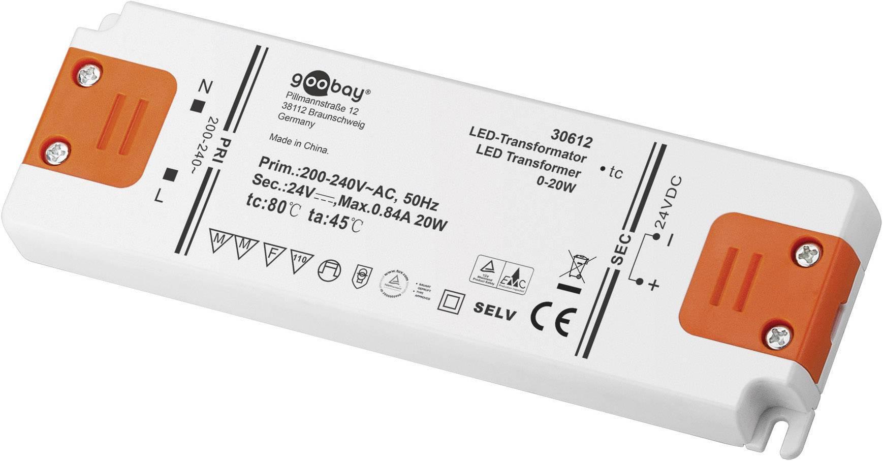 Napájací zdroj pre LED Goobay SET 24-20 LED slim, 0 do 20 W, 0.84 A, 24 V/DC