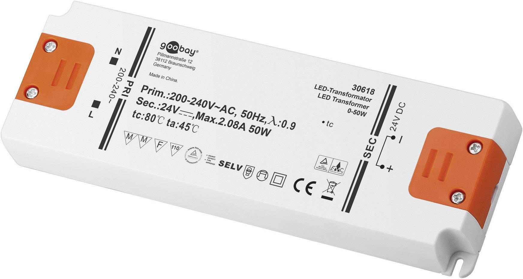 Napájací zdroj pre LED Goobay SET 24-50 LED slim, 0 do 50 W, 2.08 A, 24 V/DC