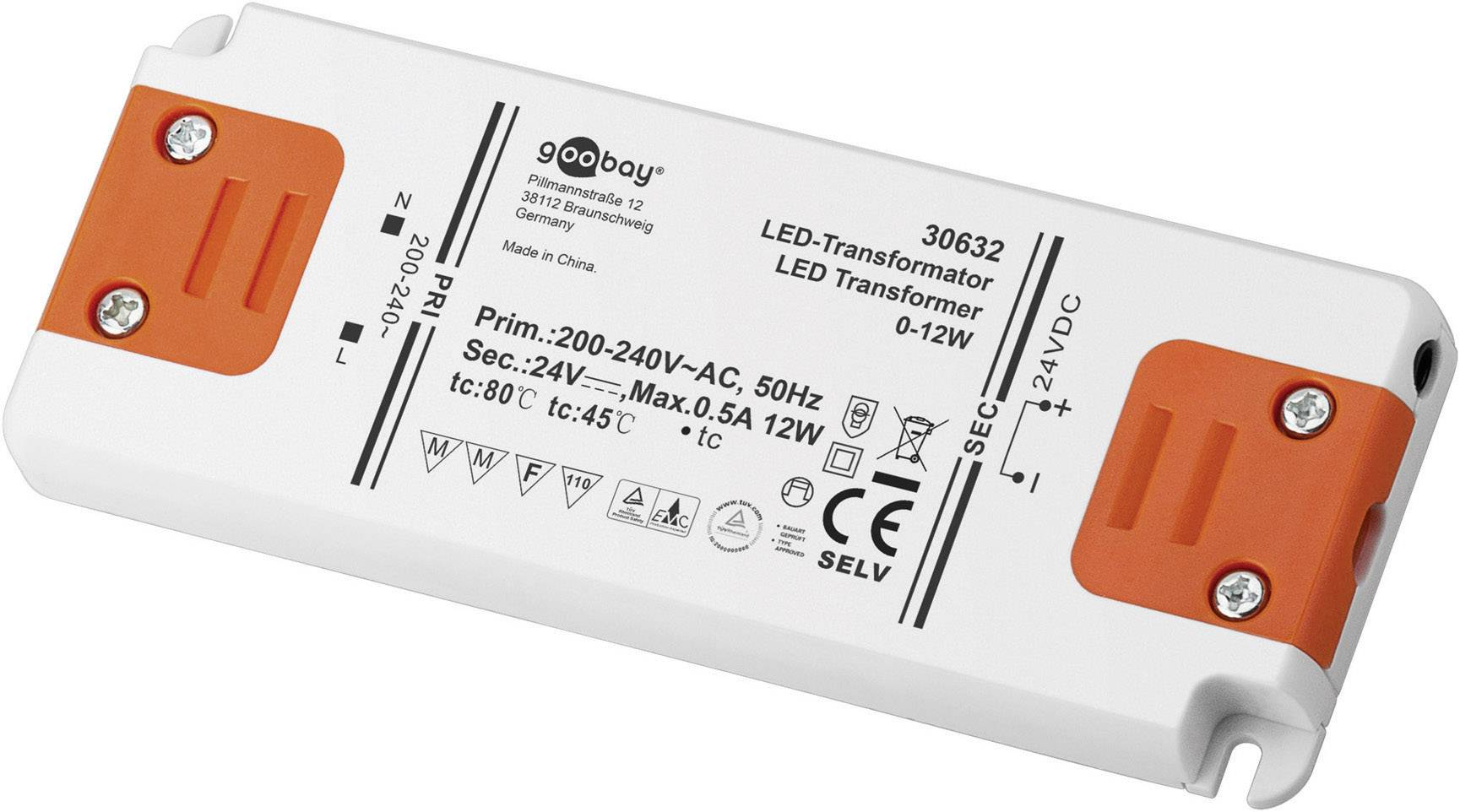 Napájací zdroj pre LED Goobay SET 24-12 LED slim, 0 do 12 W, 0.5 A, 24 V/DC