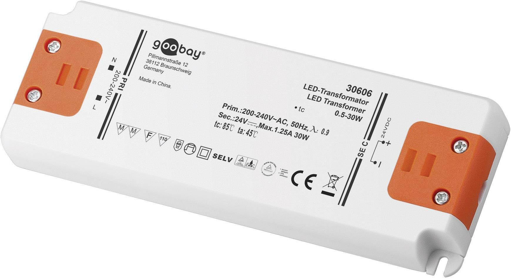 Napájací zdroj pre LED Goobay SET 24-30 LED slim, 0.5 do 30 W, 1.25 A, 24 V/DC