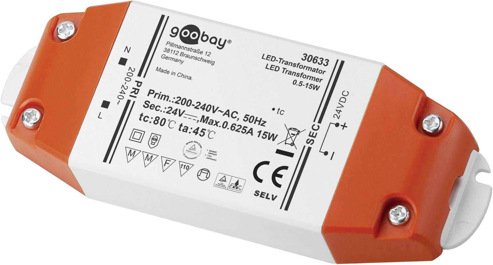 Napájací zdroj pre LED Goobay SET 24-15 LED, 0.5 do 15 W, 0.625 A, 24 V/DC