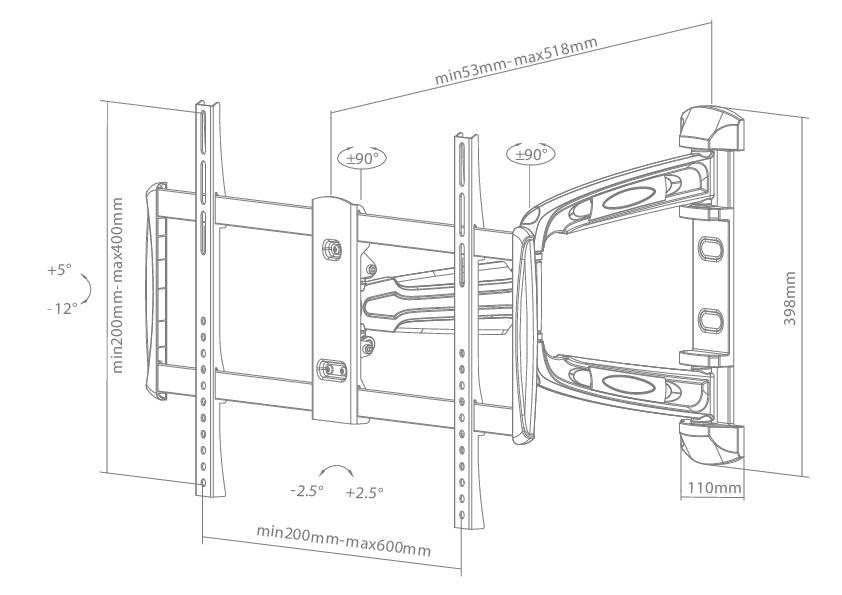 """Nástenný držiak - rameno na TV, 81 - 129,5 cm (32 - 51 """") Newstar Products LED-W700SILVER"""