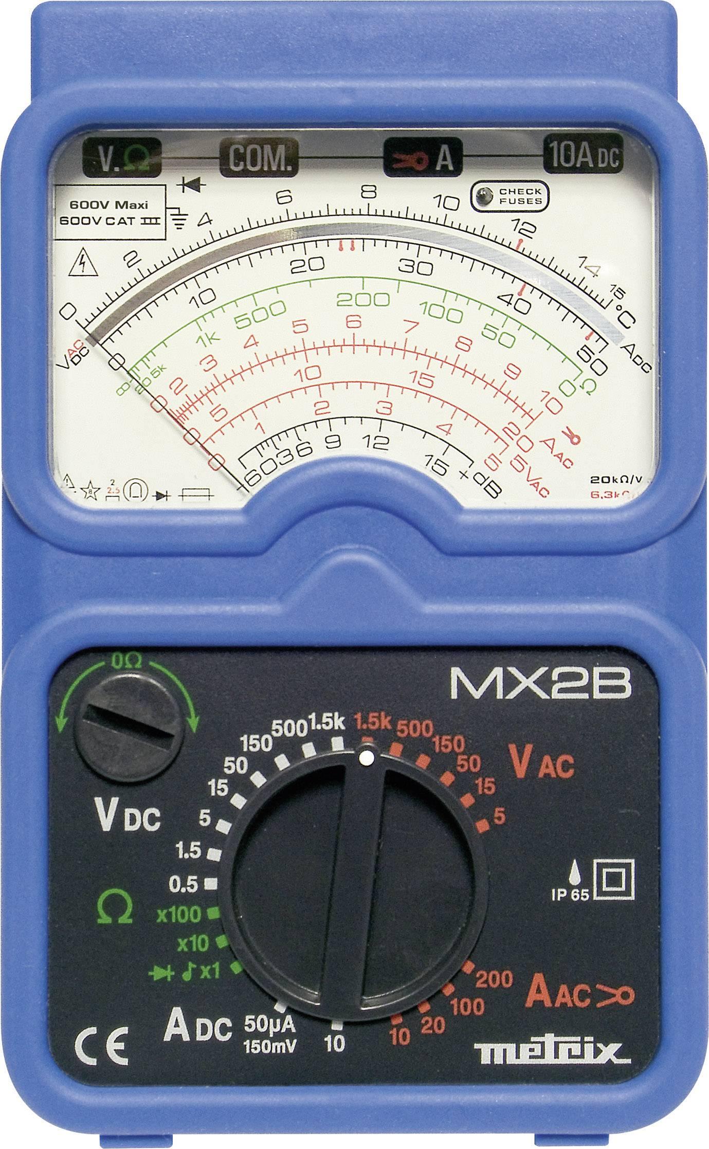 Analógový ručný multimeter Metrix MX2B+MN09F MX0002BM, ochrana proti vode (IP65)