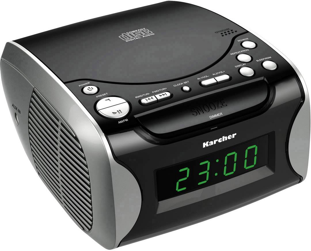 FM rádiobudík Karcher AUX, CD čierna, strieborná