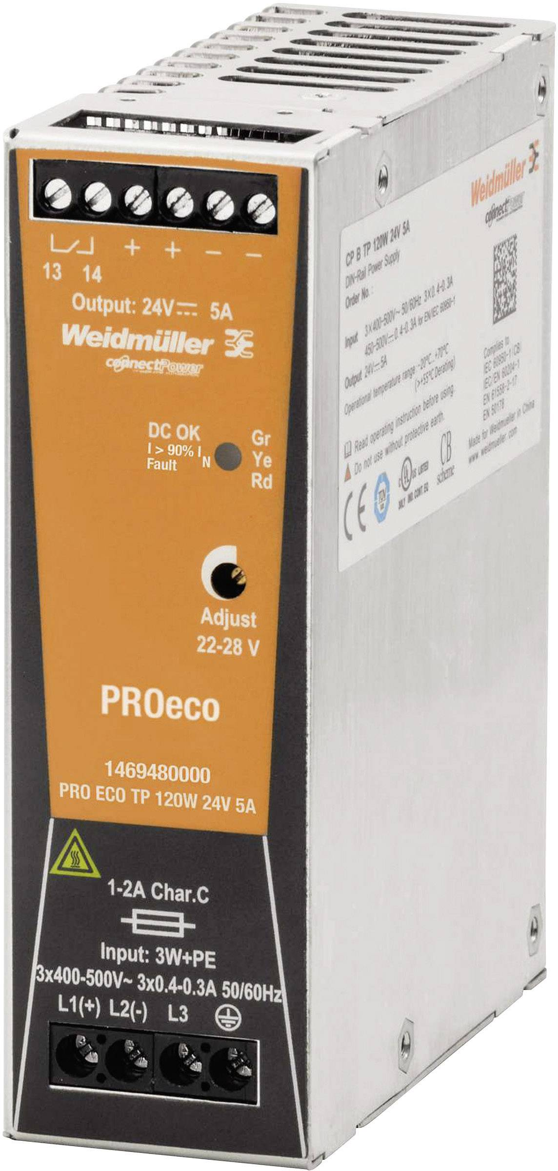 Síťový zdroj na DIN lištu Weidmüller PRO ECO 120W 24V 5A, 1 x, 24 V/DC, 5 A, 120 W