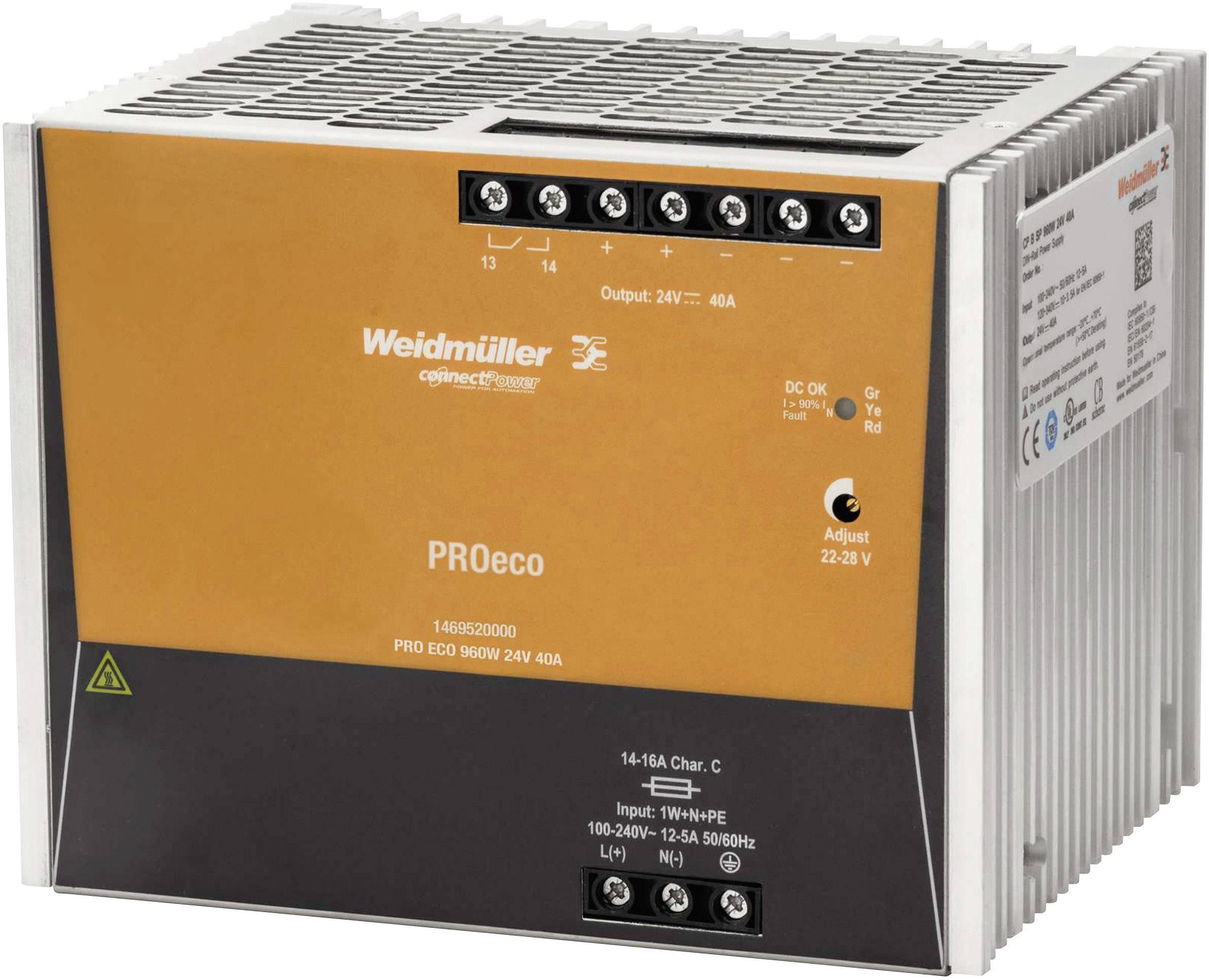 Sieťový zdroj na DIN lištu Weidmüller PRO ECO 960 W 24 V 40 A 24 V / DC 40 A 960 W 1 x
