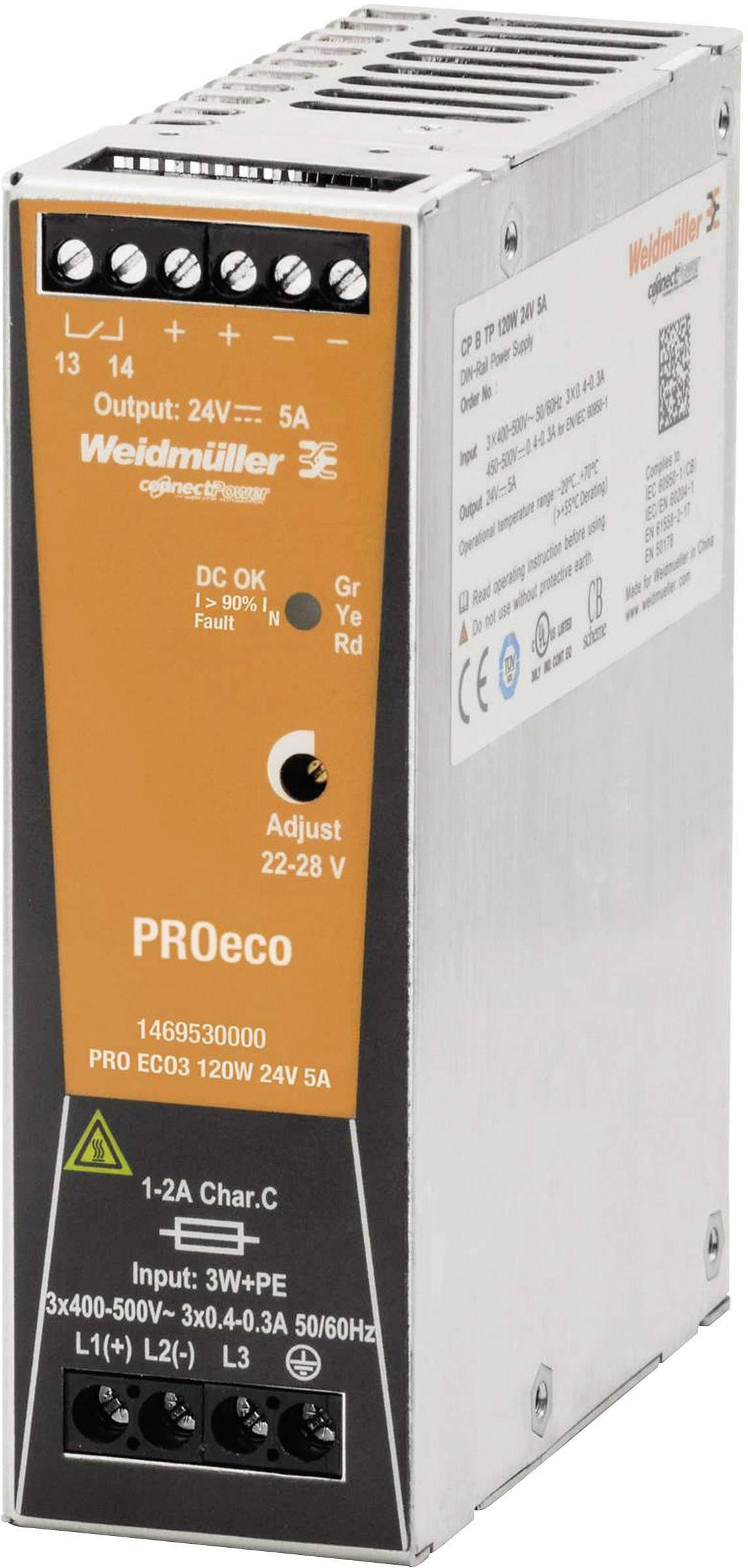 Sieťový zdroj na DIN lištu Weidmüller PRE ECO3 120 W 24 V 5 A 24 V / DC 5 A 120 W 1 x