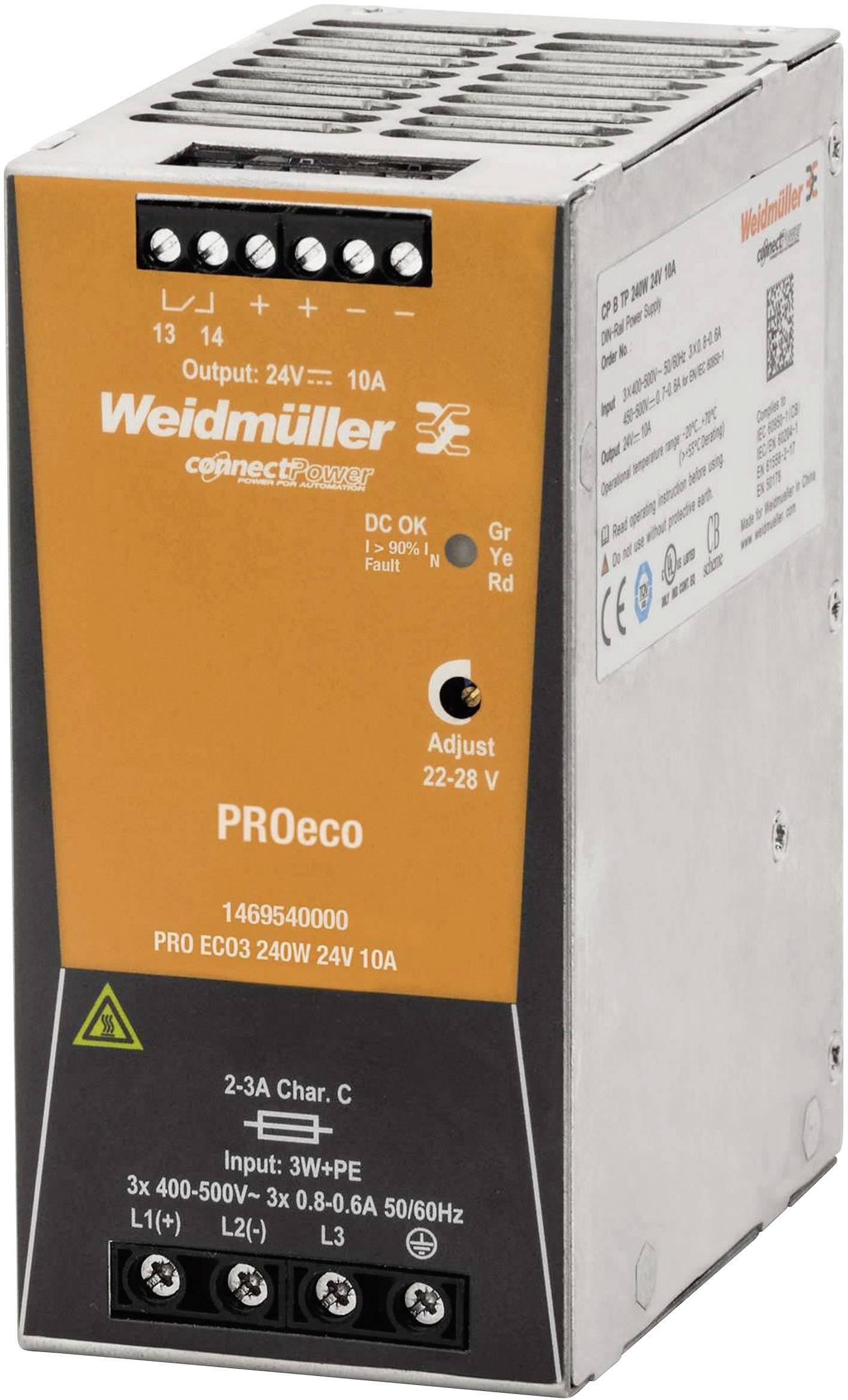 Sieťový zdroj na DIN lištu Weidmüller PRE ECO3 240 W 24 V 10 A 24 V / DC 10 A 240 W 1 x