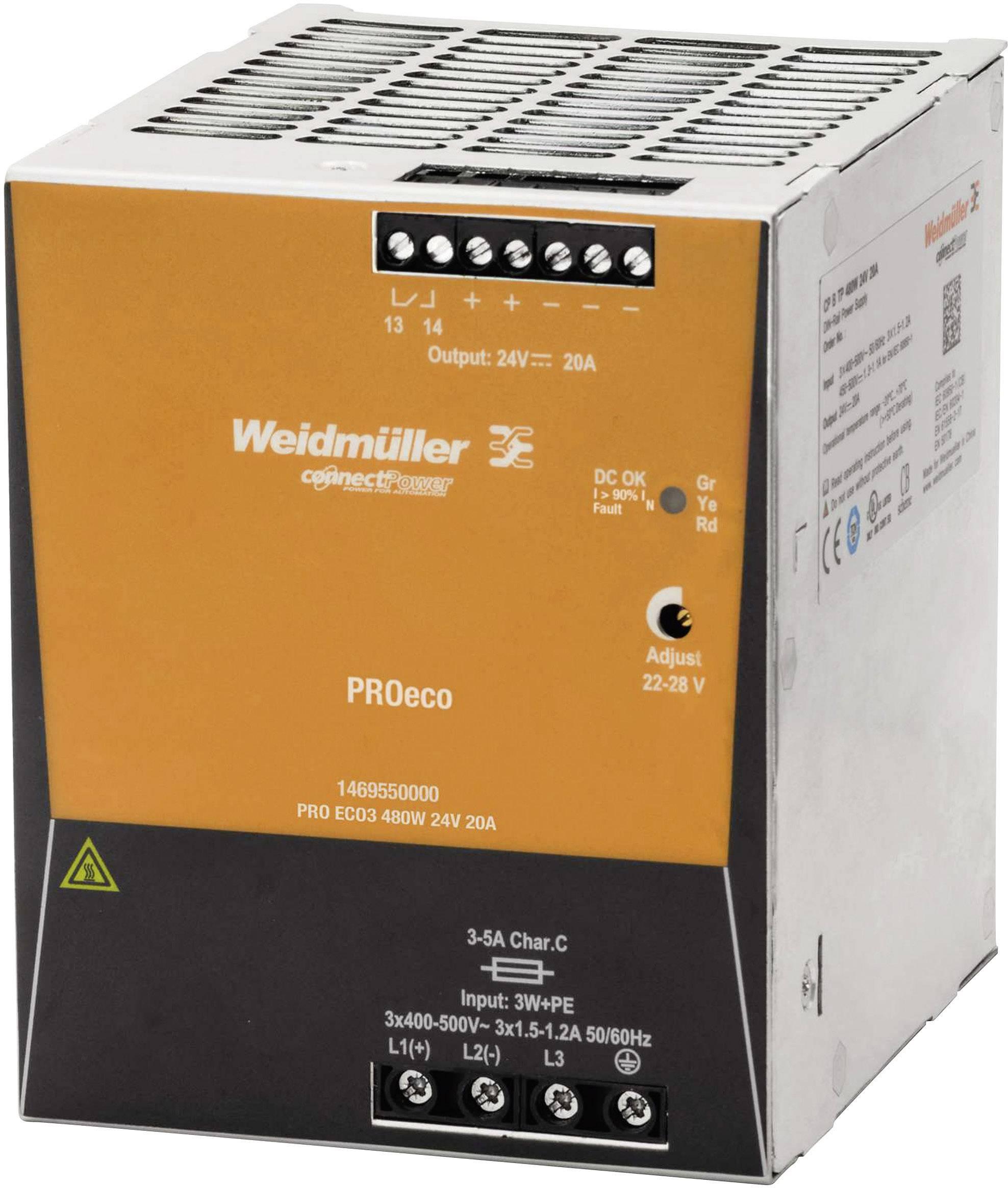Sieťový zdroj na DIN lištu Weidmüller PRE ECO3 480 W 24 V 20 A 24 V / DC 20 A 480 W 1 x