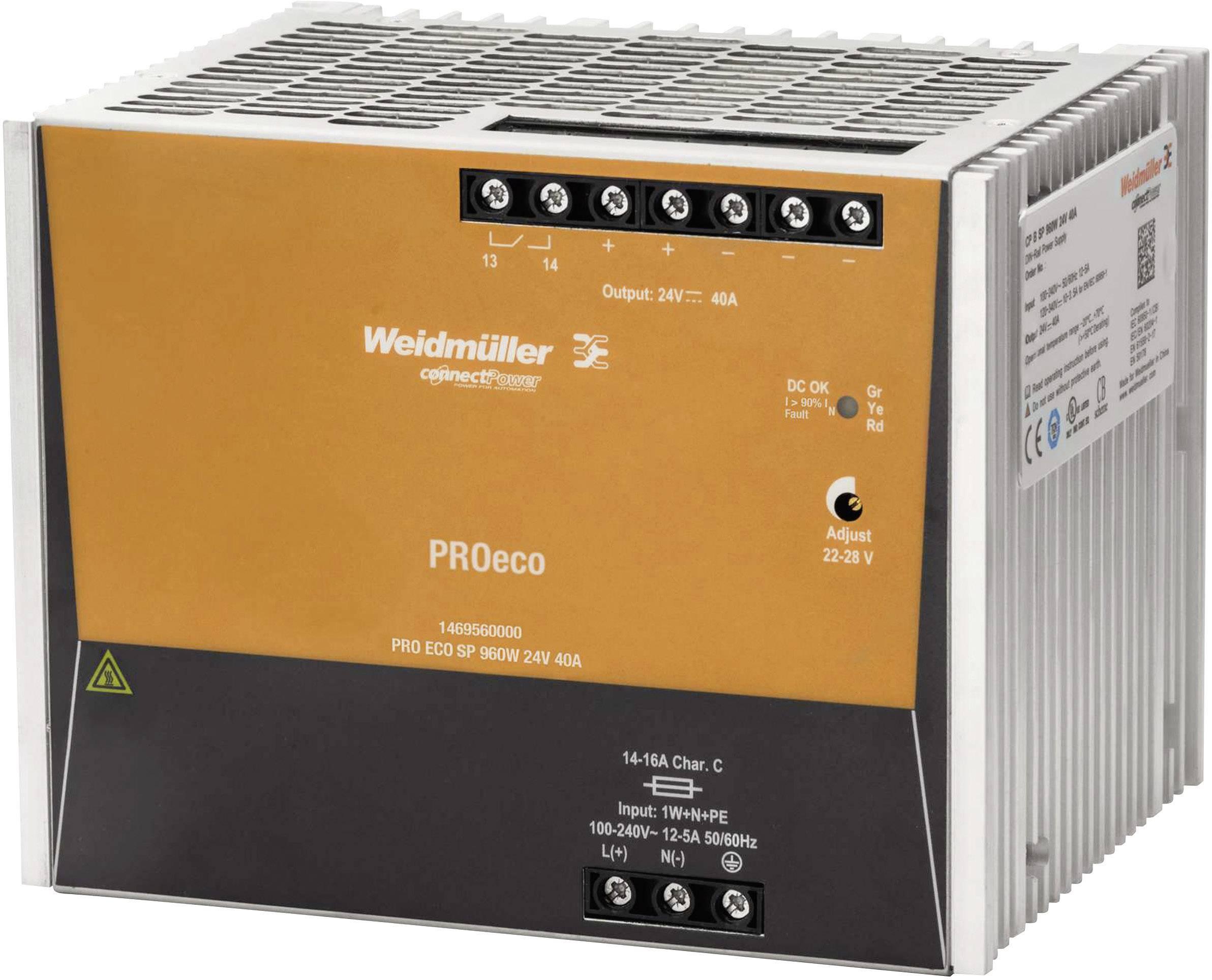 Sieťový zdroj na DIN lištu Weidmüller PRE ECO3 960 W 24 V 40 A 24 V / DC 40 A 960 W