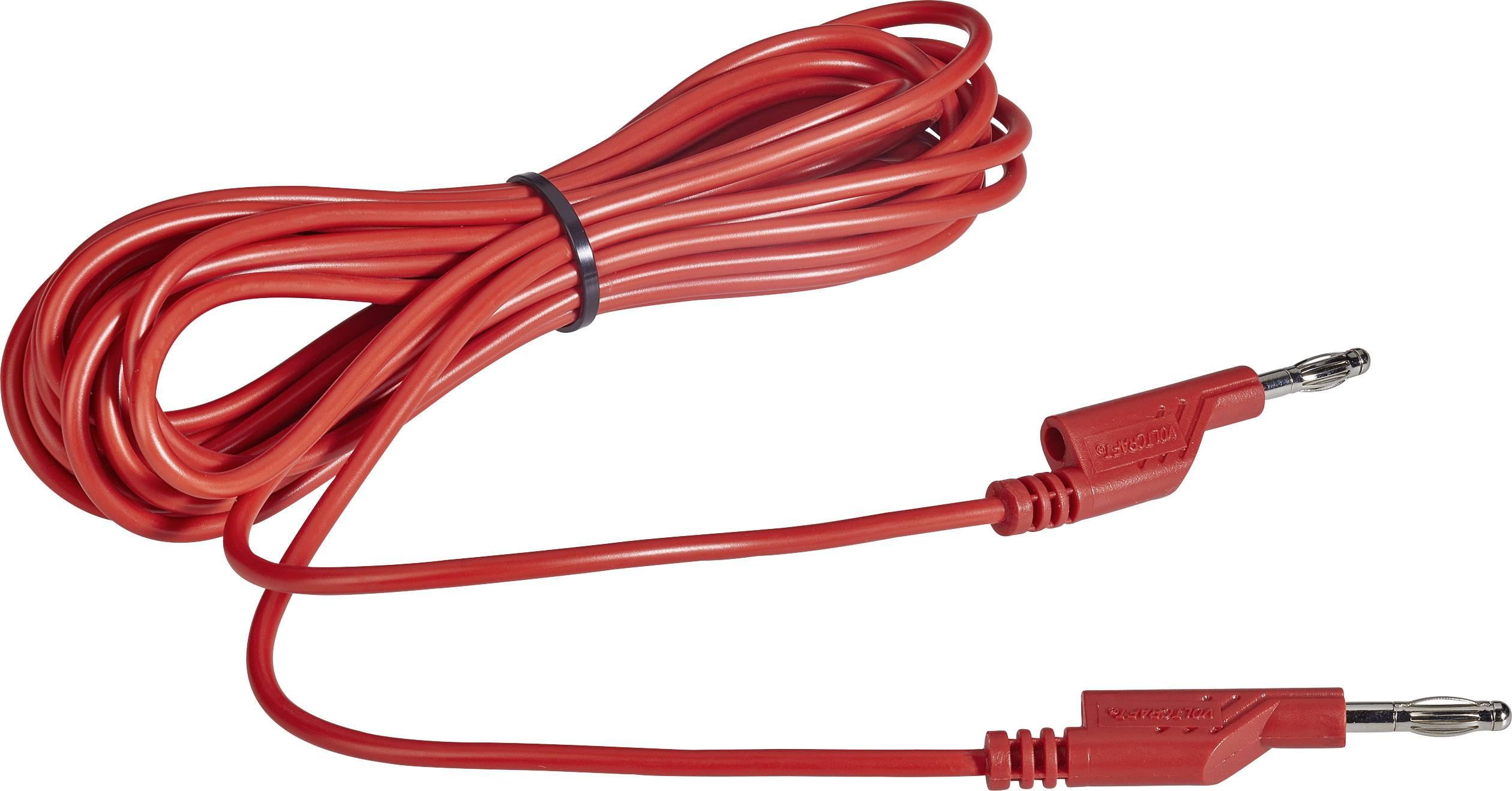 Sada měřicích kabelů banánek 4 mm ⇔ banánek 4 mm Voltcraft MS5/RT, 5 m, červená