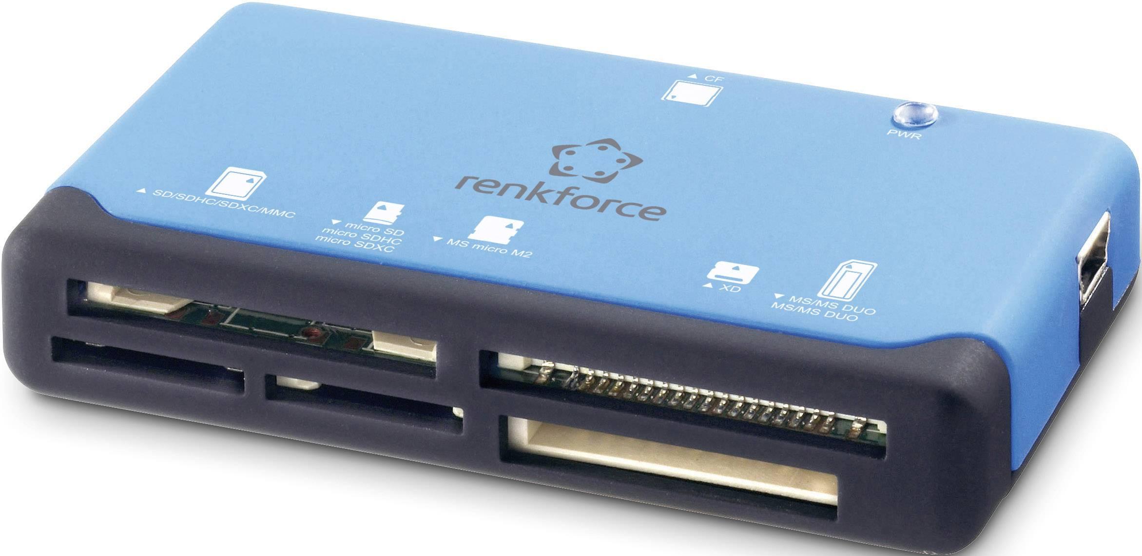 Externá čítačka pamäťových kariet Renkforce CR17e, USB 2.0, modrá