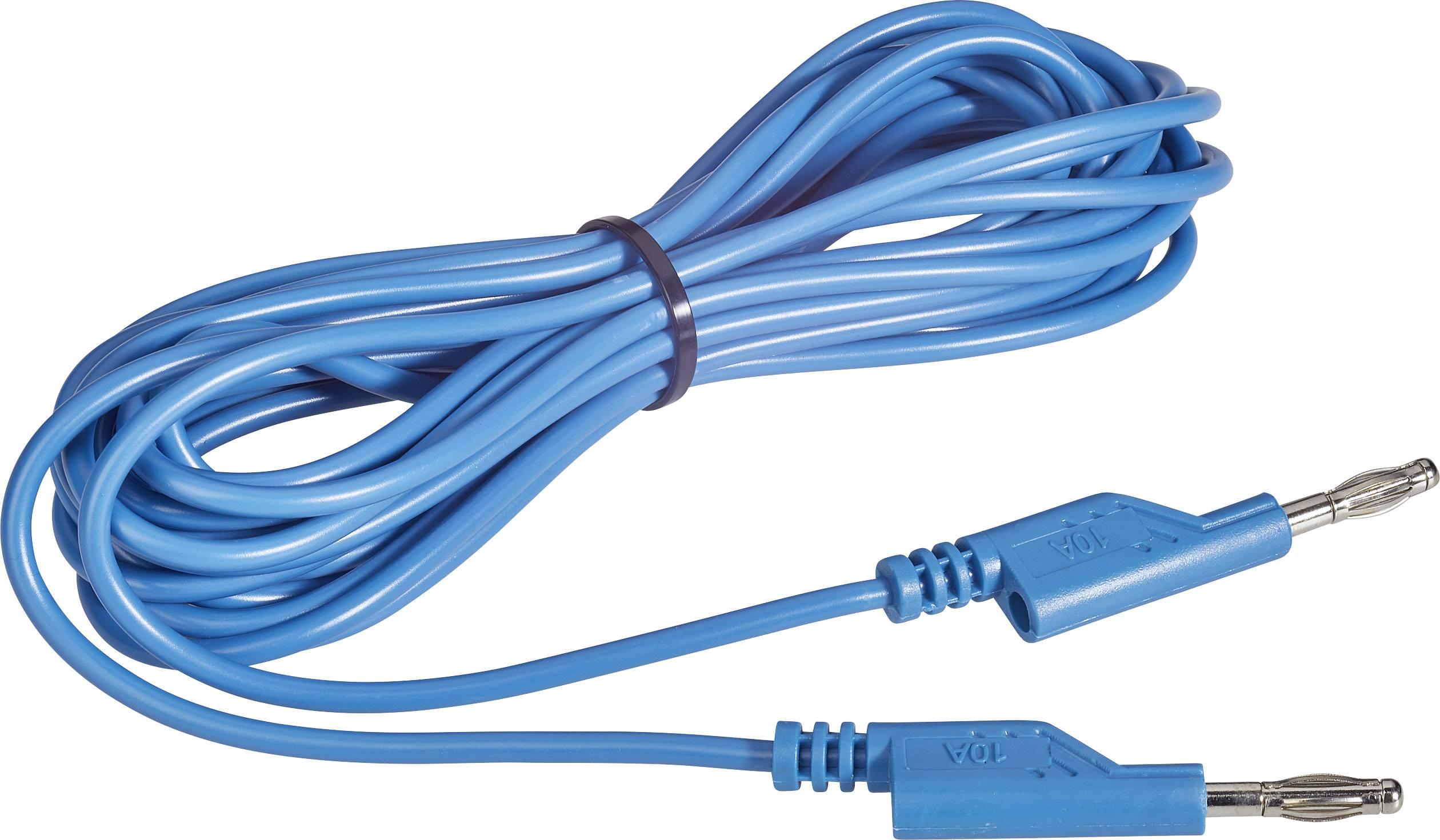 Sada měřicích kabelů banánek 4 mm ⇔ banánek 4 mm Voltcraft MS5/BL, 5 m, modrá