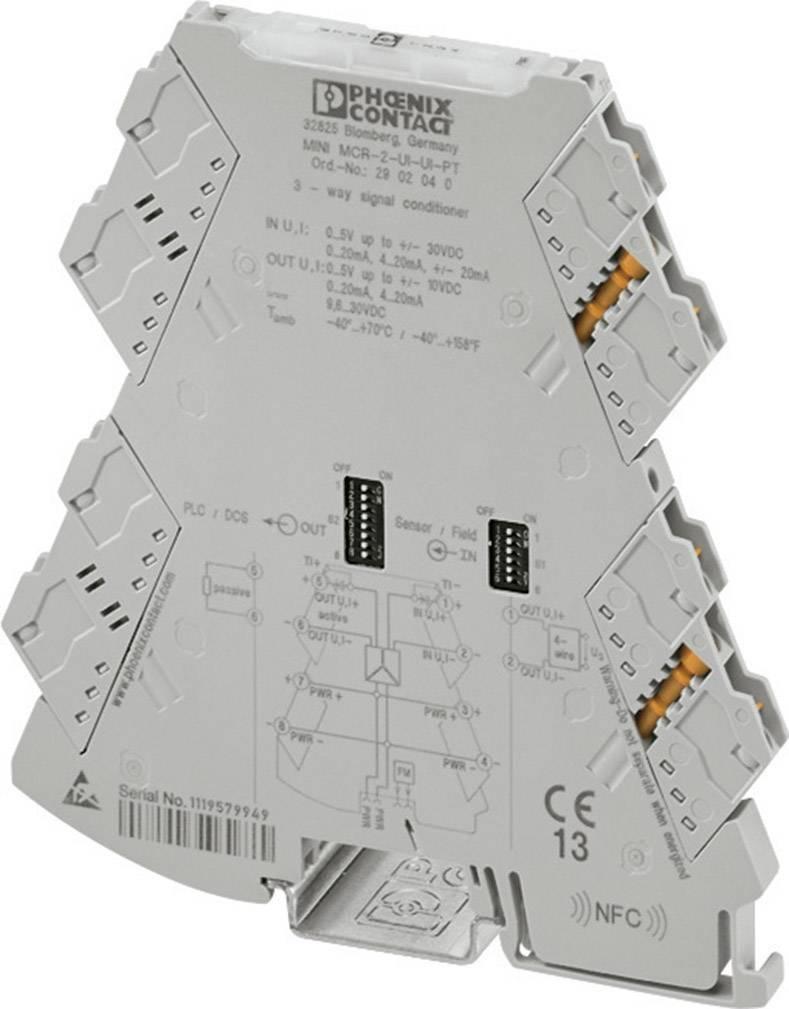 Nastaviteľný 3-cestný zosilňovač Phoenix Contact MINI MCR-2-UI-UI-PT 2902040 1 ks